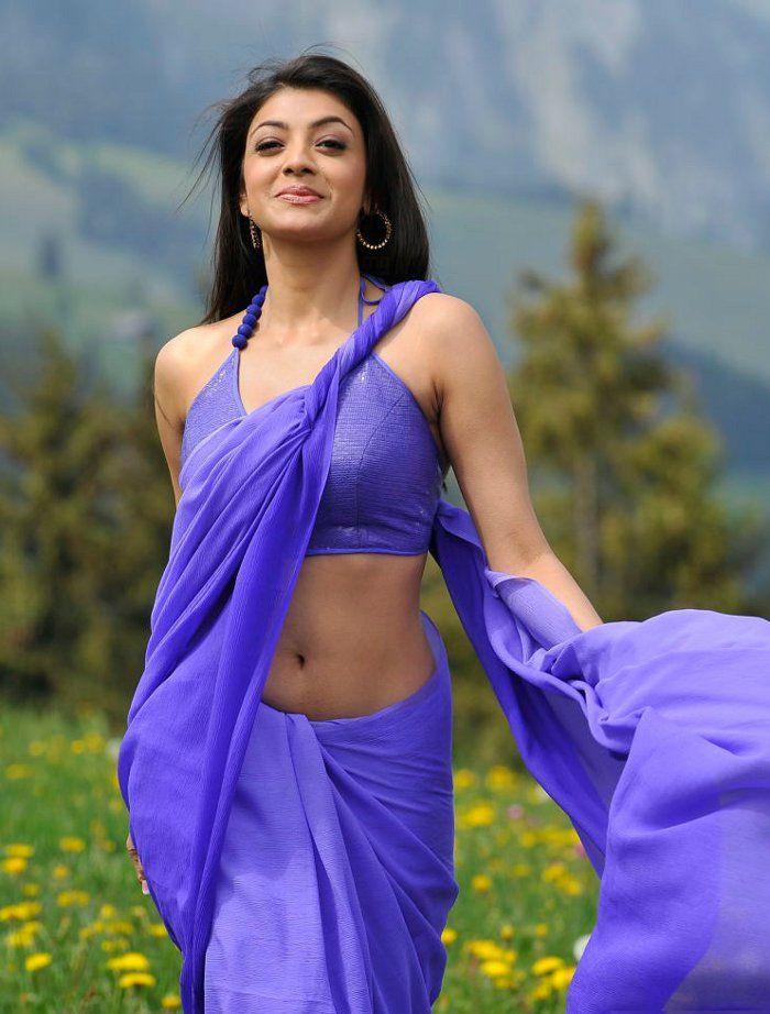 Kajal Agarwal Latet Navel Show Photos In Blue Saree