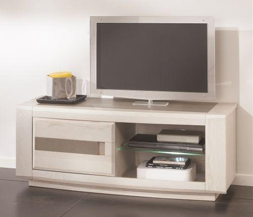 Meublea - Collection Ottawa - Meuble TV 1 porte avec possibilité d'un insert céramique sur la porte et sur le plateau. une niche.  Dimensions : L 125 / H 50 / P 48.5