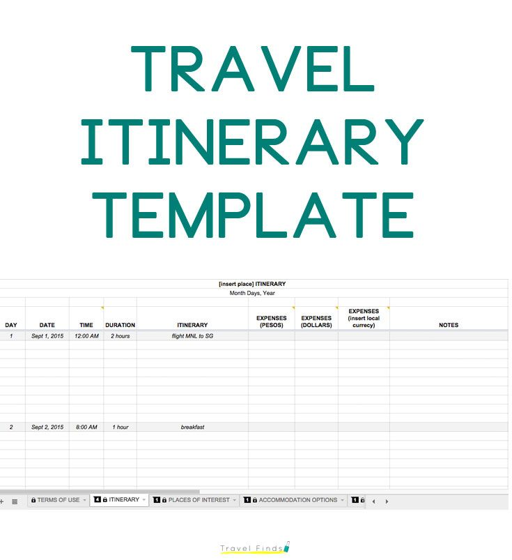 Get this Travel Itinerary Template for future use on the blog http://travelfindsshop.com/itinerary-template/