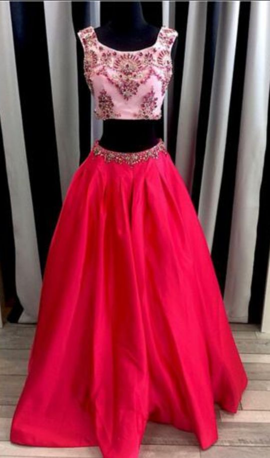 Two Pieces Red Sticky Crystal Scoop Satin A-Line Sleeveless Sexy Prom Dresses robe de soiree rouge graduation dresses