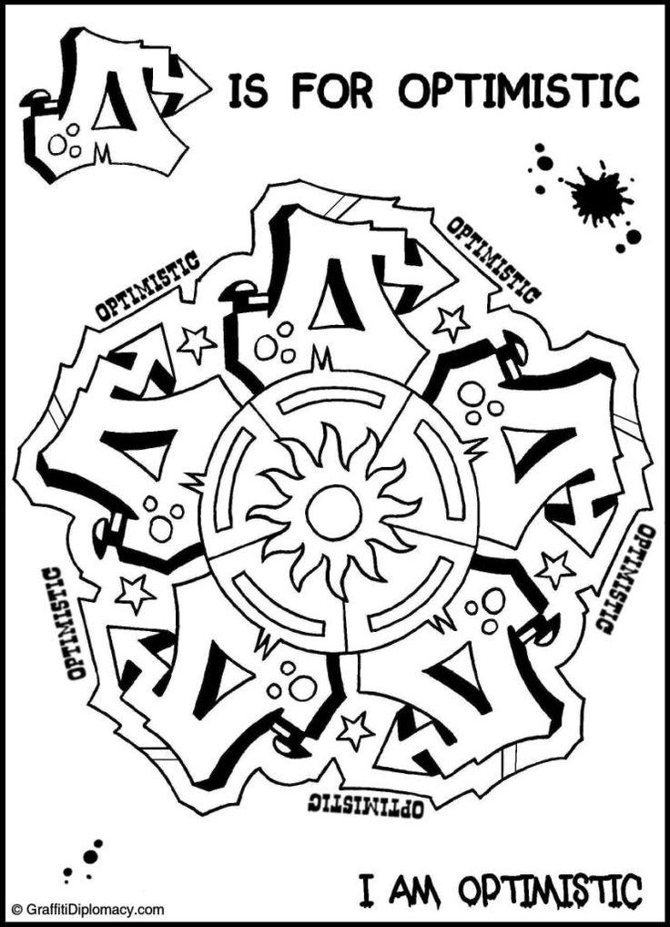 OPTIMISTIC Mandala Graffiti Free Coloring Page Positive Affirmation