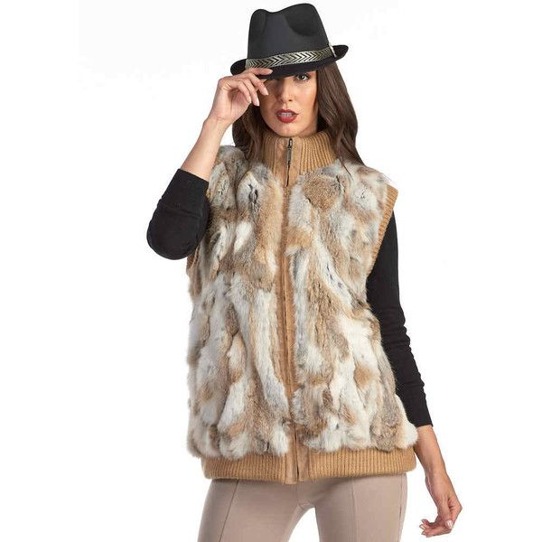 FRR Sporty Brown Rabbit Fur Zipper Vest (285 CAD) ❤ liked on Polyvore featuring outerwear, vests, white rabbit fur vest, white waistcoat, rabbit vest, sport vest and sports vest