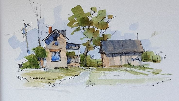 https://flic.kr/p/JXHcDX | A Simple Farmhouse and Shed in Line and Wash Watercolor | Latest video posted on YouTube.   Link to my YouTube Channel is in my bio or click the following link.  m.youtube.com/c/petersheelerart