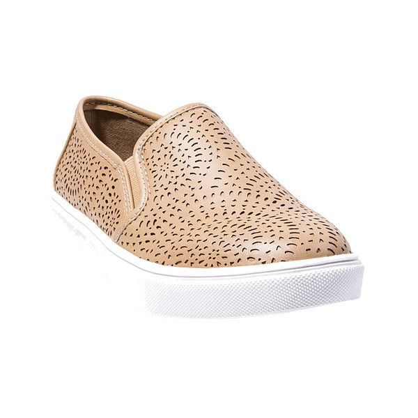 Women's Steve Madden Episode Sneaker ($60) ❤ liked on Polyvore featuring shoes, sneakers, casual, slip-on shoes, platform slip on shoes, steve madden sneakers, camel shoes, perforated shoes and perforated slip on sneakers