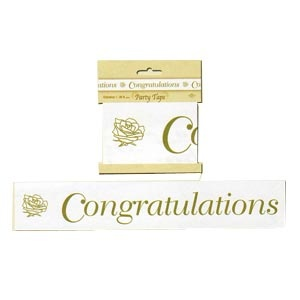 """Congratulations Party Tape (3"""" x 20') Gold"""