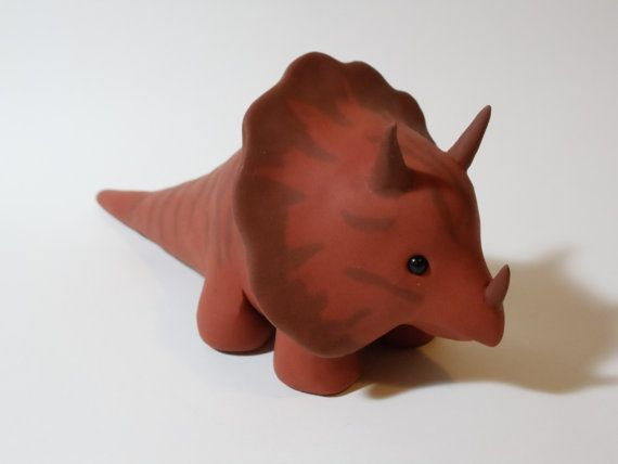 Cute Orange and Brown Triceratops One of a Kind Polymer ...