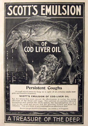 1897 Scott's Emulsion Ad ~ Poseidon Holds Cod Fish.