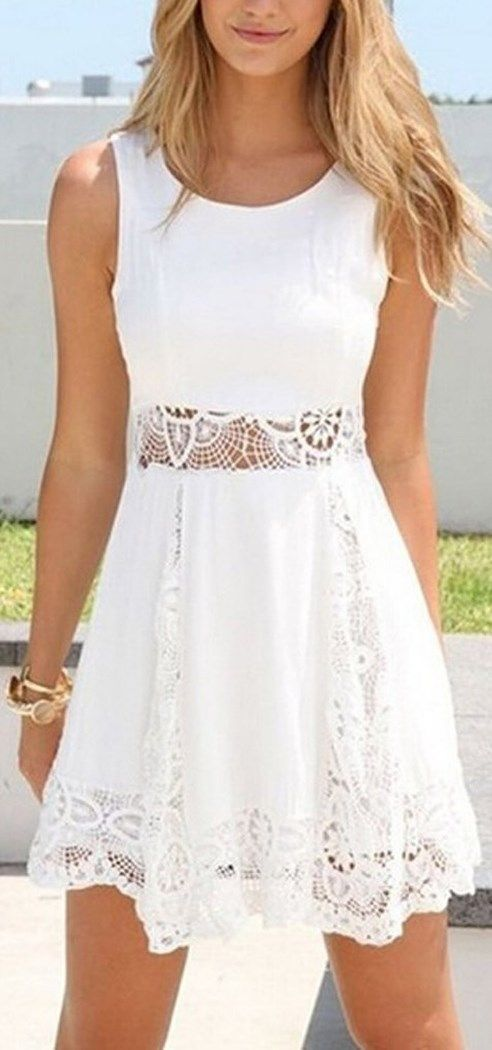 Nice summer dress! Sexy Sleeveless Lace Patchwork Hollow Out Short White Dress. http://www.cutedresses.co/go/Sexy-Sleeveless-Lace-Short-Dress