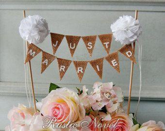 Wedding Cake Topper toile de jute rustique gâteau par RusticNovel