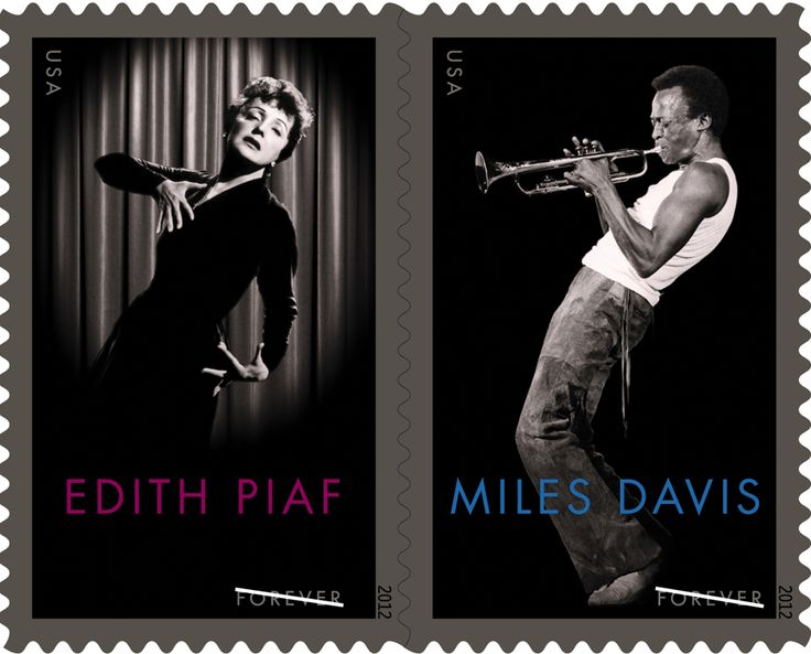 Miles Davis and Edith Piaf postage stamps - Yes! One more reason to send a handwritten note and they are good forever!