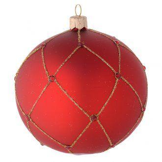 Addobbo palla vetro rosso pietre 100 mm | vendita online su HOLYART