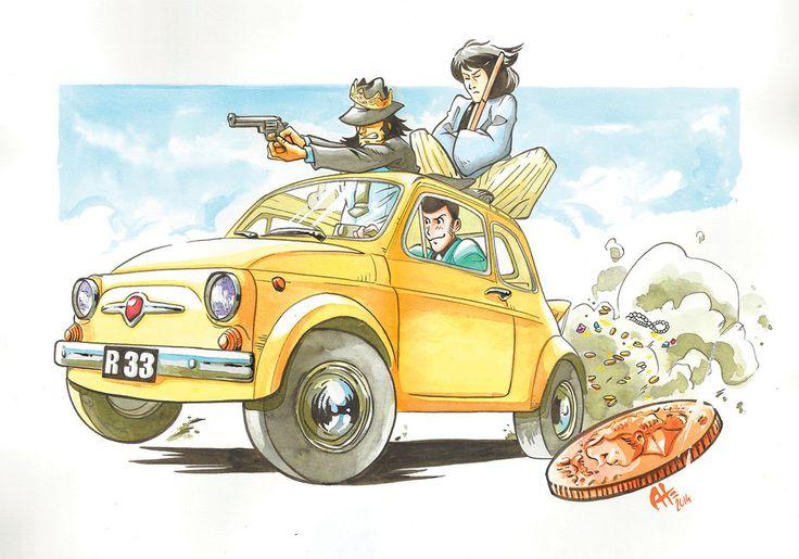 Lupin III Fiat 500 by cappellai0matt0
