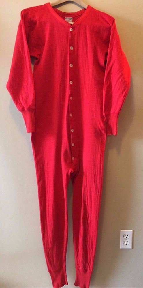 Vintage 1940s? Duofold Red Union Suit Long Underwear Men's S/M made in USA DS #Duofold #Casual