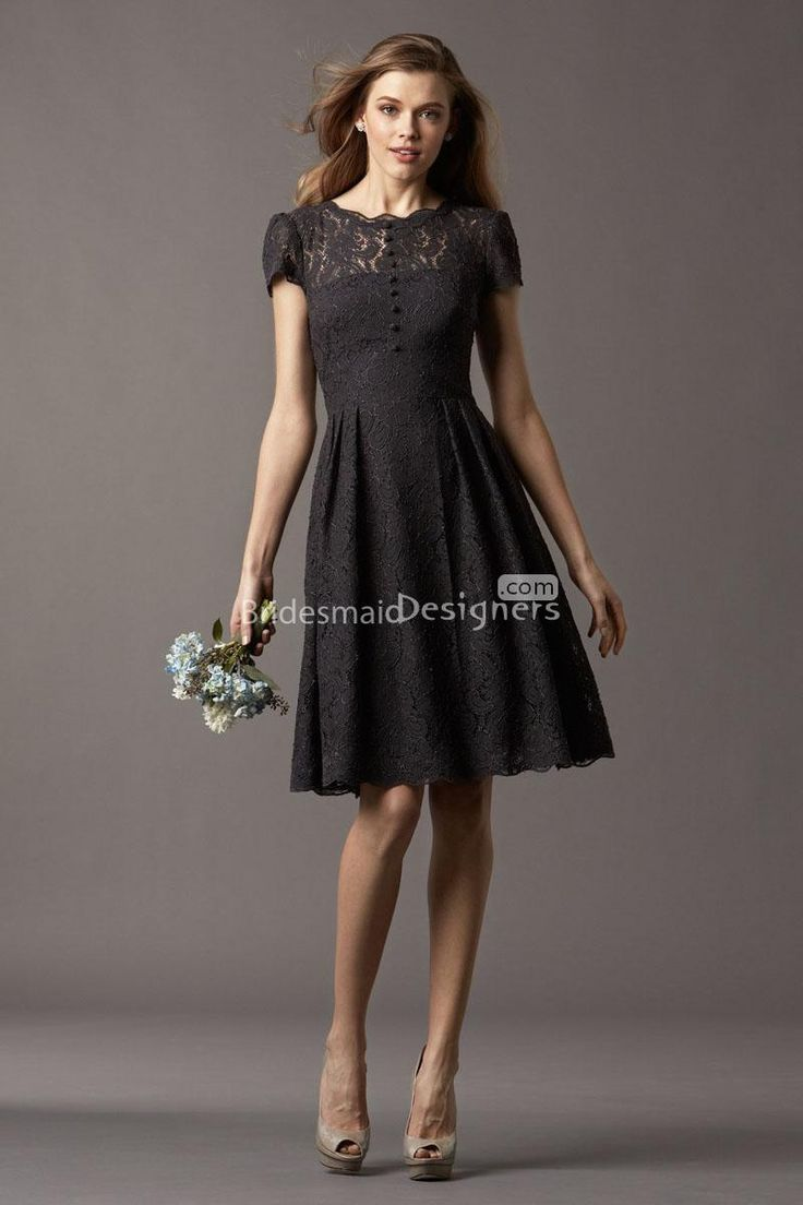 47 best bridesmaid dresses images on pinterest coral dress watters style 4257 ash knee length charcoal lace a line bridesmaid dress with a high neckline and short sleeves ombrellifo Images
