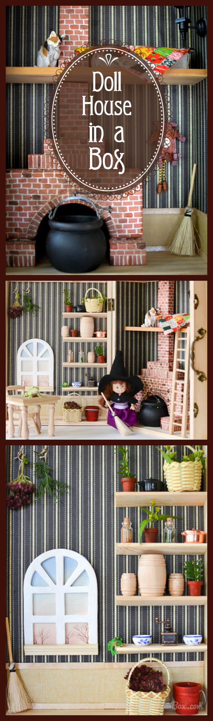 Make a Dollhouse in a Box: DIY tutorial for creating a simple, portable and fun dollhouse for children from a wooden box