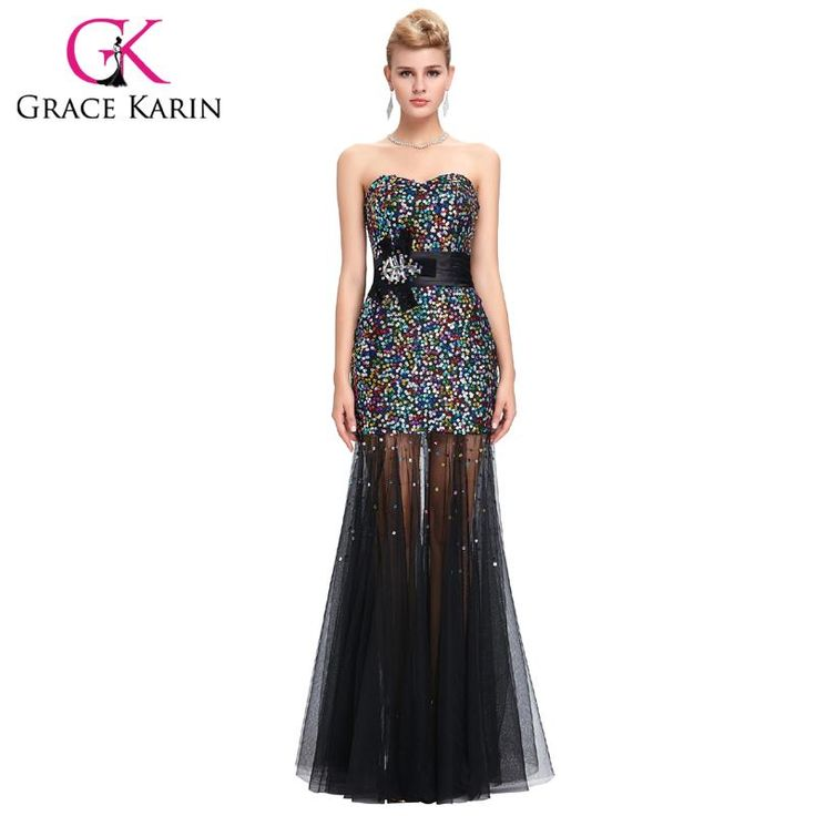 Colorful Sequins Black Mermaid Evening Dress Tulle Peacock Dress $60.37 => Save up to 60% and Free Shipping => Order Now! #fashion #woman #shop #diy www.weddress.net/...