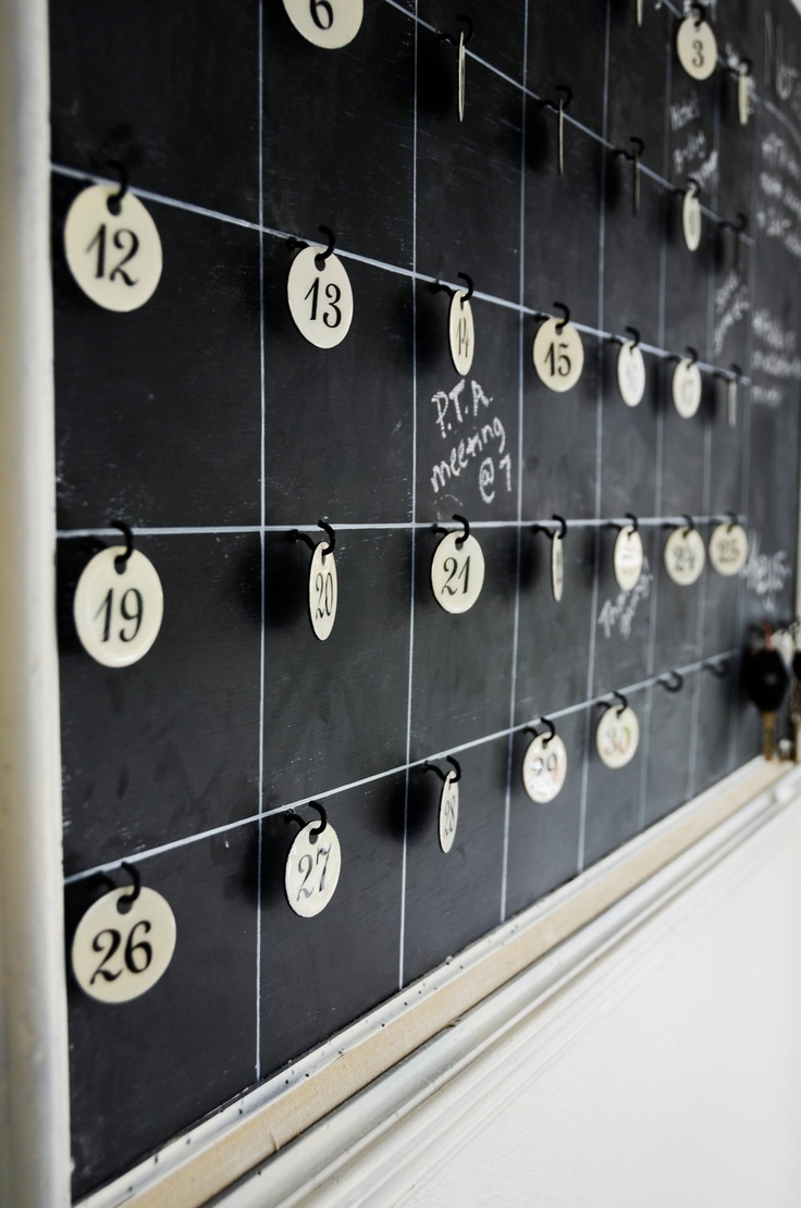 Vintage French Enamel Tag Chalkboard Calendar and Interactive Board