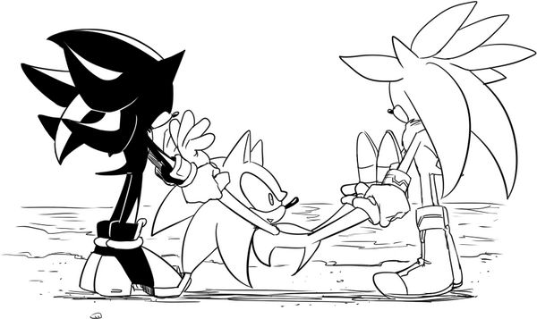 In sonic mind: Oh crap water!!!!! When i get back Silver and Shadow are so dead!!!