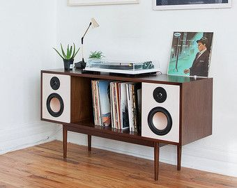 Superior Handcrafted Walnut Mid Century  Hifi Console // Sideboard   BLUETOOTH   Stereo  Cabinet