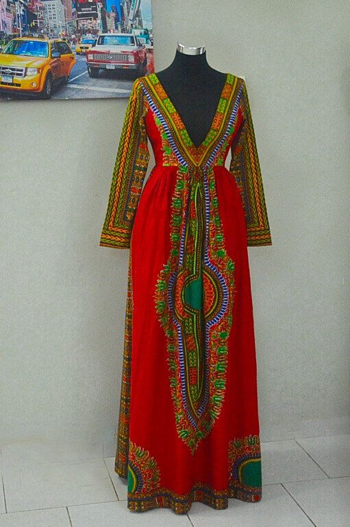 Dashiki dress Plunging neckline   african by CoCoCremeCouturier