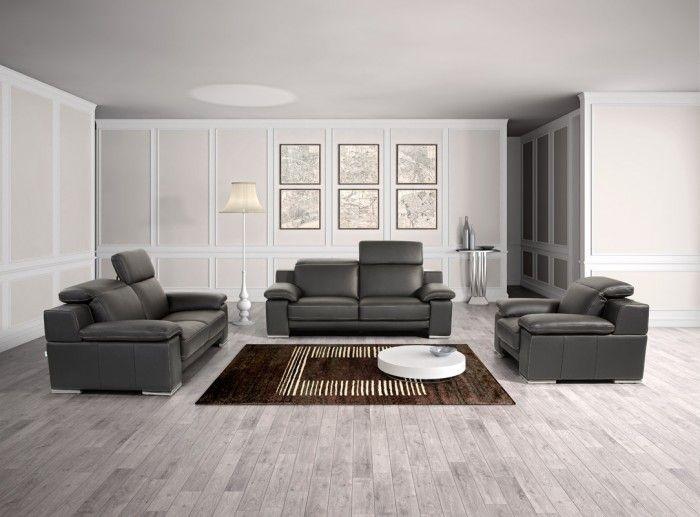 Estro Salotti Evergreen Modern Black Italian #Leather #Sofa Set #grey # Livingroom #greylivingroom #furnituredesign #leathersofa Living Roon Decor  Ideas ... Part 59
