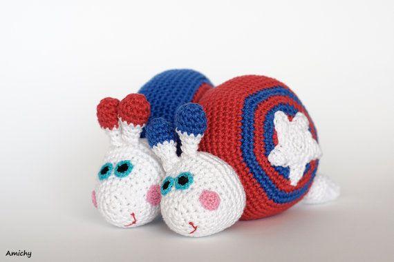4th of July Crochet Amigurumi Pattern , Stars And Stripes Snail