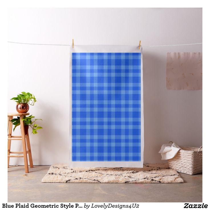 Blue Plaid Geometric Style Pattern Fabric