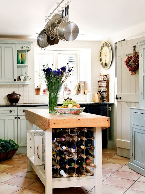 French farmhouse. love the wine storage and door.