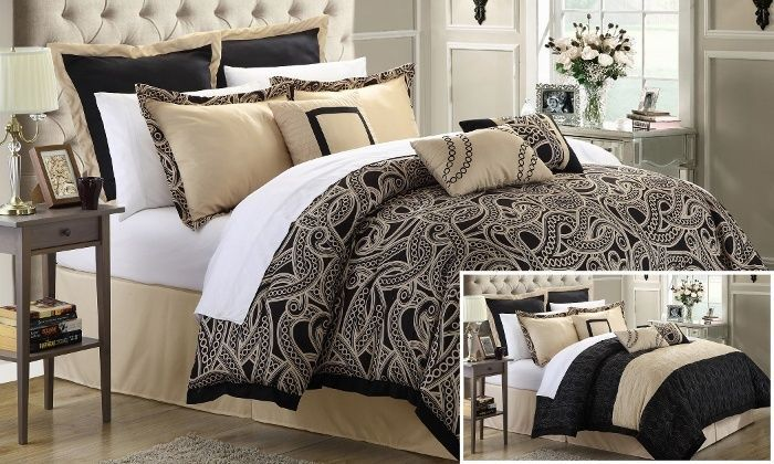 Turin 8-Piece Reversible Comforter and Quilt Set - QUEEN #ChicHomes