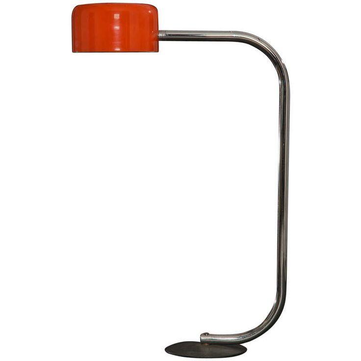 1960s Signed Robert Sonneman Orange Floor Lamp | From a unique collection of antique and modern floor lamps  at https://www.1stdibs.com/furniture/lighting/floor-lamps/