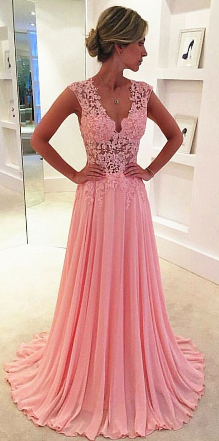 2016 Pink Chiffon Prom Dresses Sheer Lace Applique Top Long Elegant Evening Gowns