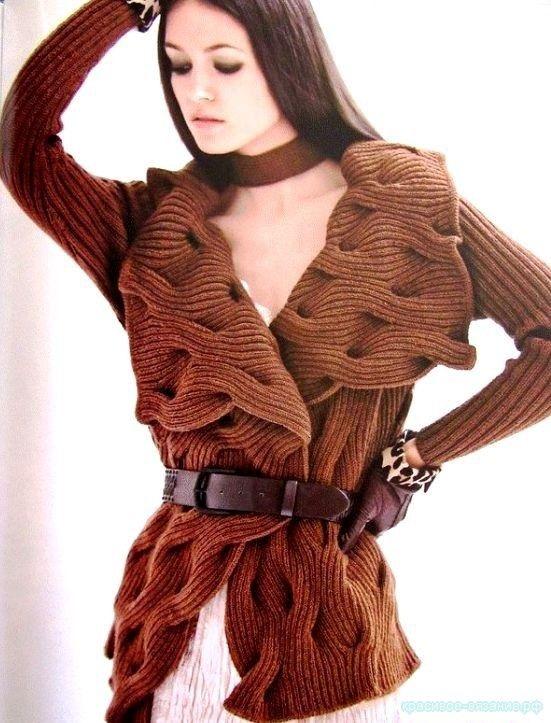 Жакет волнами из кос