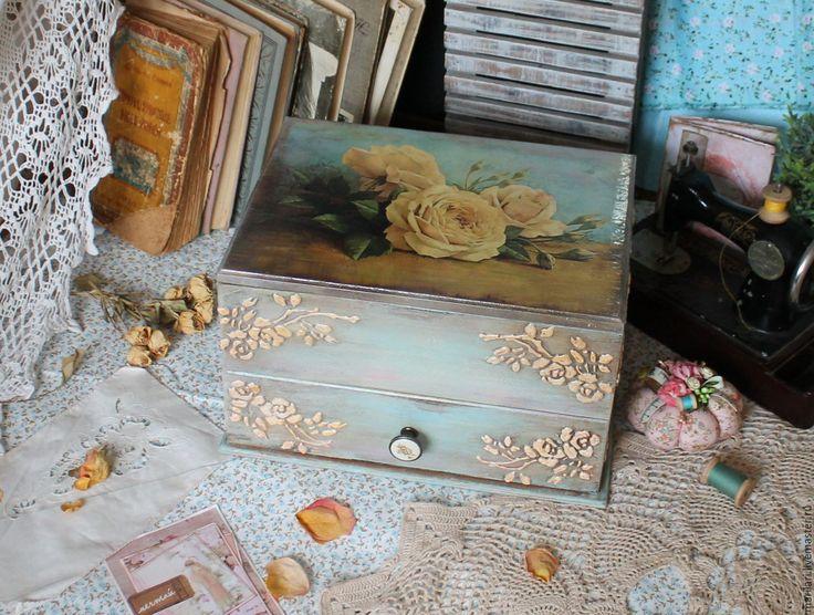 """Купить Комод """"Бежевая роза"""" - комбинированный, комод для рукоделия, рукодельный уголок, тильда, шьем, ателье"""