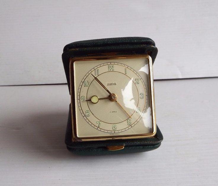 Vintage 70's Wehrle W German mechanical travel alarm clock