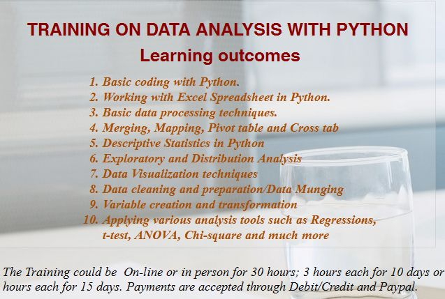 Learn Python for data analysis. To know more please visit at: http://www.aspireanalyticsolutions.com/
