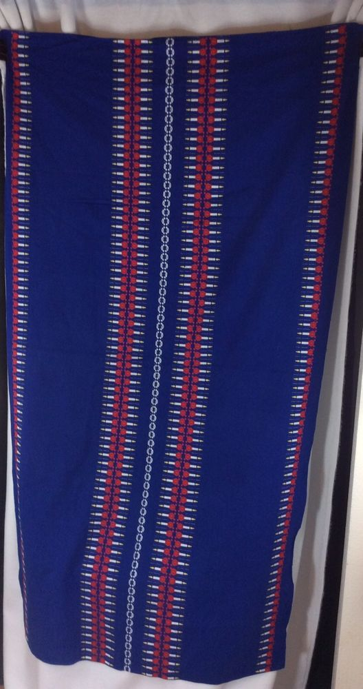 Hanukkah Tablecloth Throw Blue red yellow white cotton 35 x 65 Jewish menorah  | eBay