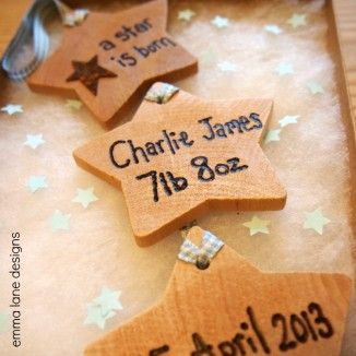 New Baby Wooden Hanging Star Keepsake   |  Emma Lane Designs. £11.50 comes gift boxed. Personalise with the wording of your choice. A unique and personal gift for the new parents.