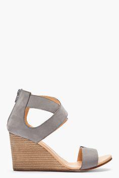 MM6 MAISON MARTIN MARGIELA Grey criss-crossing nubuck Wedge Sandals