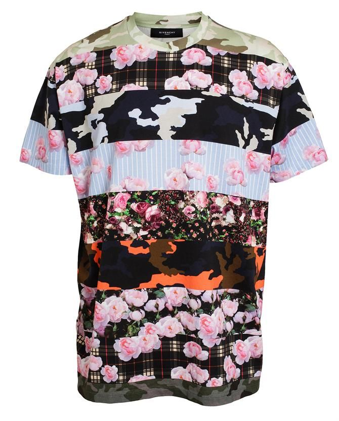 GIVENCHY | Contrasting Floral Printed Cotton T-Shirt