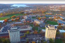 A shot from Canon Brownell's video shows the Ithaca College campus with Cayuga Lake in the background.