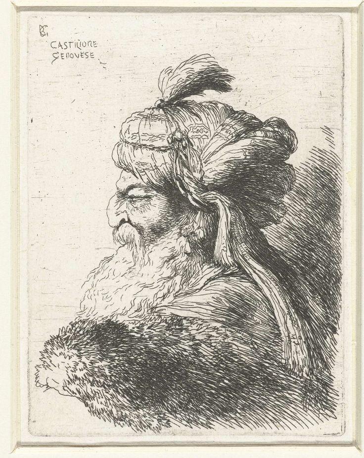 Giovanni Benedetto Castiglione | Hoofd van een oude man met tulband, Giovanni…