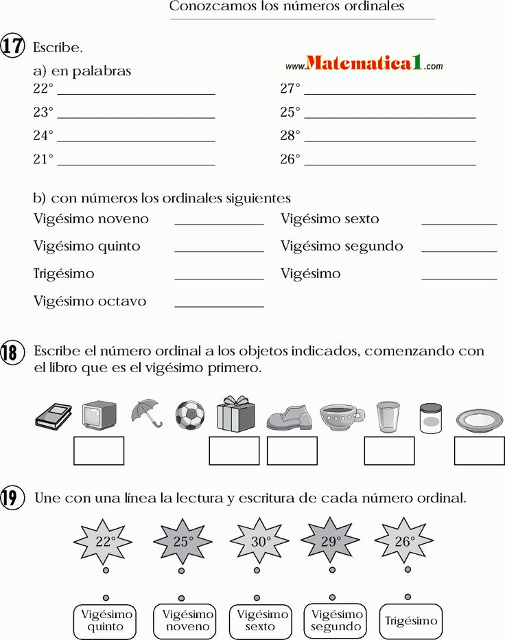 24 best Numeros Ordinales images on Pinterest  Spanish teaching
