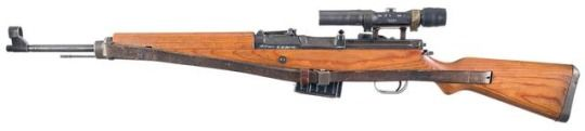 Walther Gewehr 43 sniper rifle    Manufactured by Berlin-Lübecker Maschinenfabrik c.1943-45 - serial number 2753k.  7,92x57mm Mauser 10-round removable box magazine, can be fed with stripper clips, gas-operated semi-automatic fire, ZF4 scope.  Following in the steps of its American and Soviet predecessors, the G43 cements the look for future post-war battle rifles.