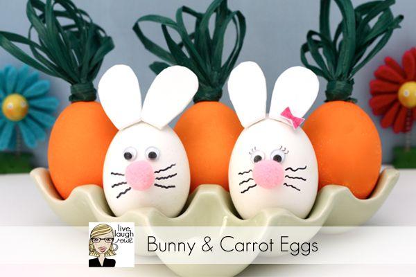 Super Easy Bunny & Carrot Easter Eggs with livelaughrowe.com #easter #eggdecorating