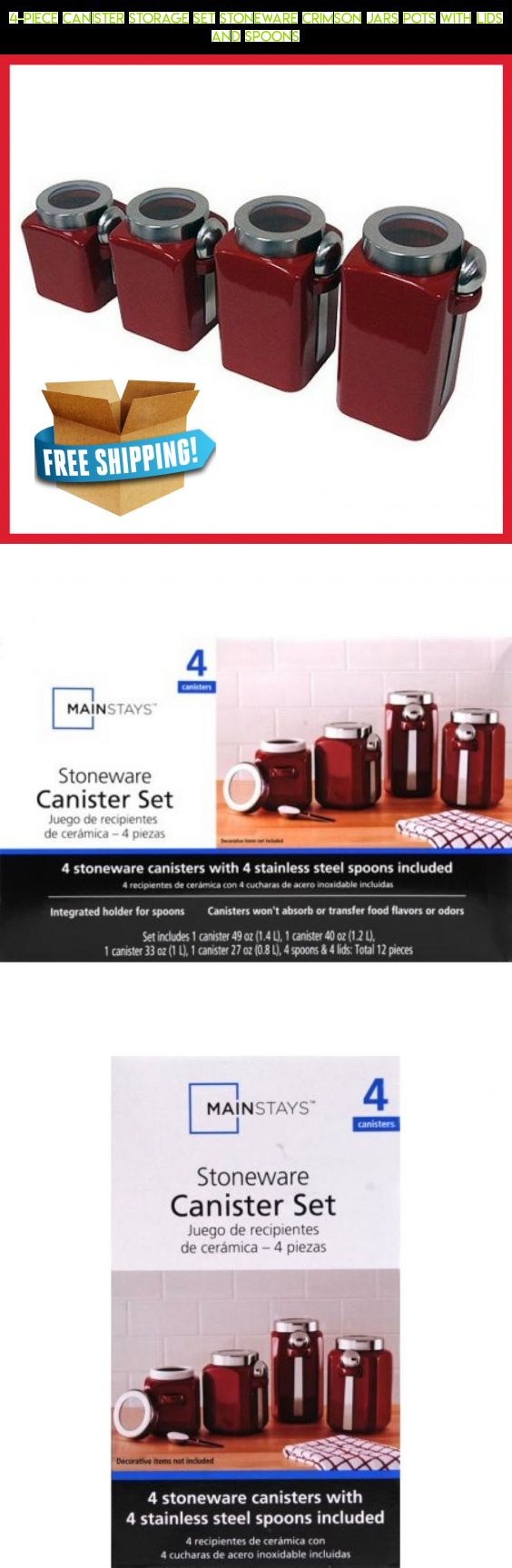 4-Piece Canister Storage Set Stoneware Crimson Jars Pots With Lids And Spoons #products #plans #lids #parts #with #camera #tech #racing #kit #storage #fpv #jars #technology #drone #gadgets #shopping