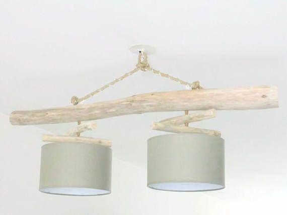 Lustre/plafonnier en bois flotté  Taupe 30 cm  création