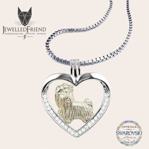 Yorkshire terrier jewelry necklace pendant with swarovski crystal- sterling silver - Custom Dog Necklace - Pet Memorial Gift- Pet jewellery by jewelledfriend. Explore more products on http://jewelledfriend.etsy.com