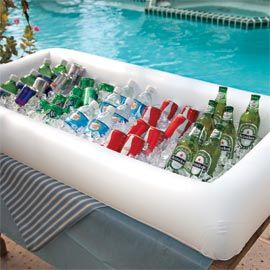 Inflatable Serving Bar--fits on top of an ordinary table--keeps salads and beverages cold--$19.98--great gift for the entertainers