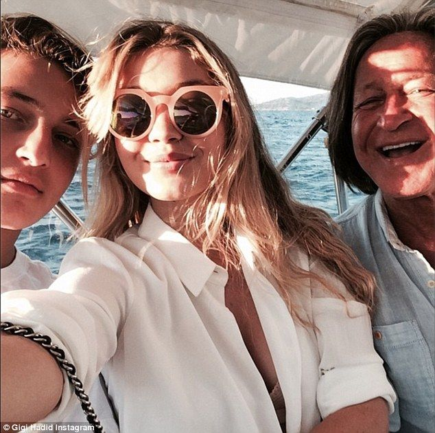 My boys! Gigi shared this picture with her father Mohamad Hadid, right, and brother Anwar Hadid, left