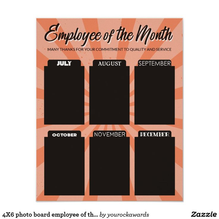 4X6 Photo Board Employee Of The Month Poster